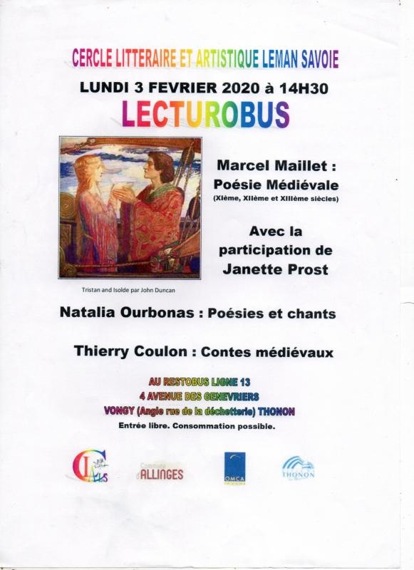 Affiche de l'événement de Poésie médévale du CLALS au Lecturobus le 3 février 2020