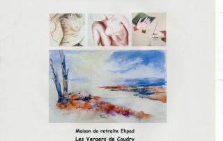 Affiche de l'Atelier Arts Plastiques du CLALS pour une exposition à l'Ehpad de Cervens du 23 janvier au 23 mars 2020