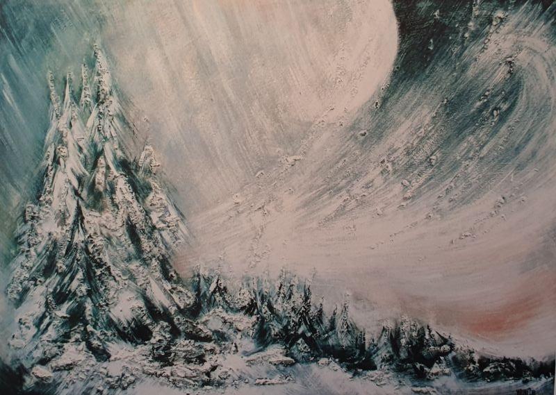Peinture repésentant un paysage de JY Masset