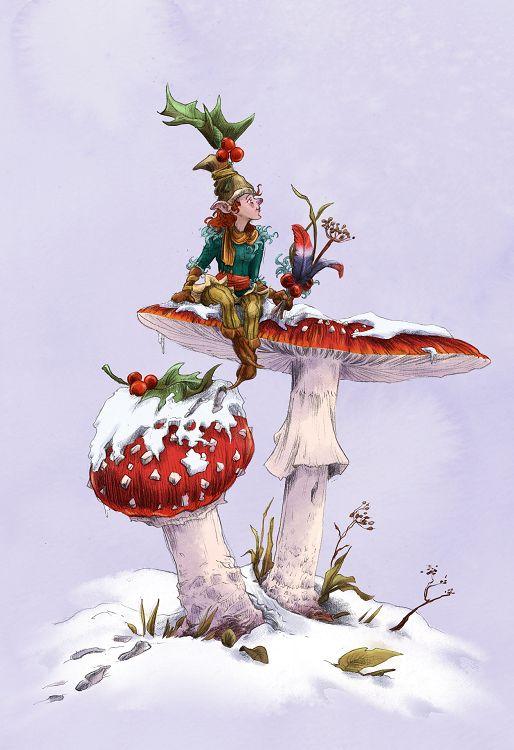 Dessin de lutin et champignons réalisé par Caroline Legent
