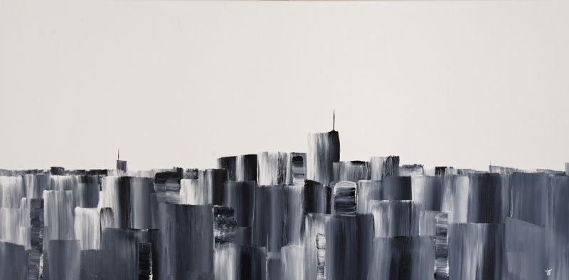Toile en peinture acrylique de 100x50 cm intitulé B&W