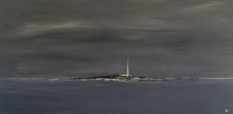 """Toile intitulé """"Solitaire"""" peinte représentant un ile ou un monde à la dérive"""